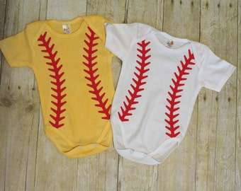 Softball yellow Onesie bodysuit