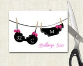 Lace Bachelorette Party Printable Bra and Panty size card