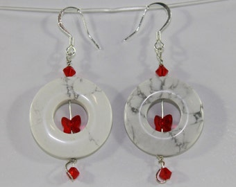 Red Butterfly Swarovski and Howlite Earrings