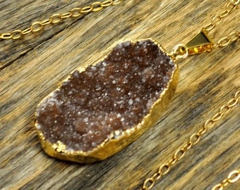 Large Redish Brown Druzy Necklace, Redish Brown Druzy Pendant, Jewelry, Gold Druzy Necklace, Natural Druzy, 14k Gold Fill Chain