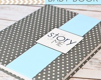 Baby Book/Baby Journal/Baby Boy - Grey Polka Dots with Baby Blue Stripe Cover, Perfect Bound (Pregnancy - 5 Years)