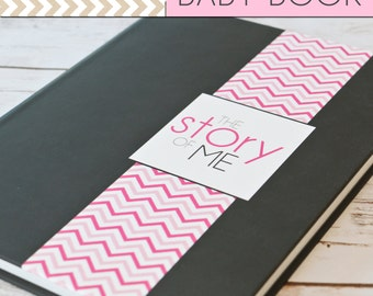 SALE // Baby Book/Baby Journal/Baby Girl - Solid Grey with Chevron Print Cover,Perfect Bound (Pregnancy - 5 Years)