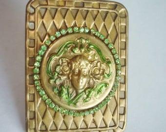 Vintage Jewelry Art Nouveau Lady  Flowers Brooch Gold Tone Repousse