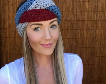 Dusty Blue, Grey, Crimson Red Braid Head Hair Accessory Band Earwarmer Headband Crochet Knit Head Wrap Fashion Gray Vegan Unisex Girl Men
