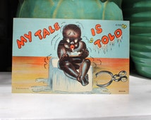 Black Americana Postcard My Tale is Told Boy Sitting on an Ice Block 1930 Antique VINTAGE by Plantdreaming