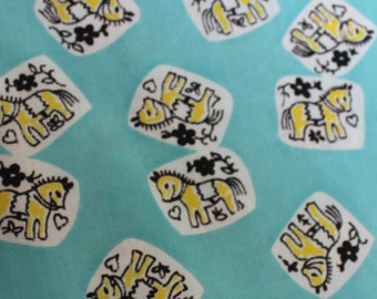 """Juvenile Cotton Fabric 3 Yards Infant Baby Child 36"""" width 28"""" long Novelty Horse VINTAGE by Plantdreaming"""