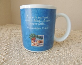 Religious Blue Porcelain Love Cup. Love is Patient, Love is Kind...Love Never Fails Mug. Bible Verse Cup. Zondervan Definition of Love Cup
