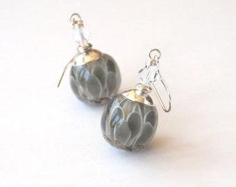 Grey Petal Earrings, Flower Earrings, Lampwork Earrings, Mother's Day Gift