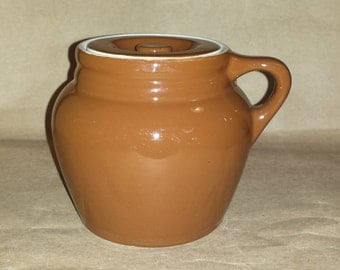 MCM Hall China Brown 80 1/2 Bean Pot with Lid / Vintage Hall Brown Pottery Pint Bean Pot with Lid / Hall Brown One Handled Bean Pot with Lid