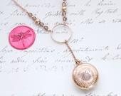 Antique Round Trinket Box Locket Engraved COJ & MRJ 12kt Rose Gold Filled Y Necklace - Ready to Ship