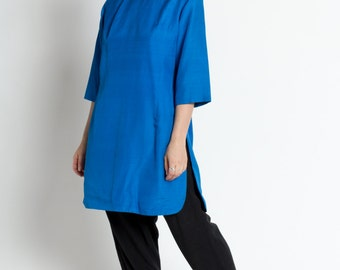 Vintage 60s Electric Blue Silk Dupioni Tunic Top with Side Slit | M/L