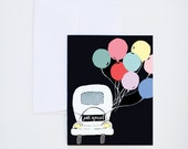 Wedding - Just Married Car and Balloons  - Painted & Hand Lettered Greetings - A-2