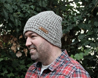 Mens Winter Hat Slouchy Mens Hat Mens Oatmeal Beanie Knitted Hat Slouchy Beanie for Man Gift for Him Husband Hubby Boyfriend Gift