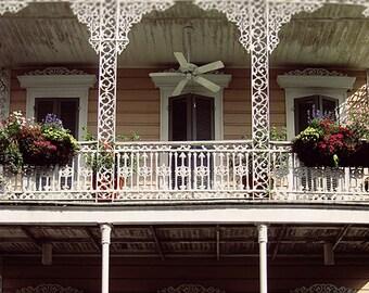 "New Orleans Fine Art Photograph Print, ""Balcony Oasis"". French Quarter Wrought Iron Balcony, Louisiana Picture, NOLA Home Decor, Wall Art"