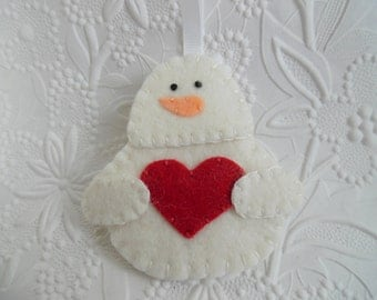 Ornament Valentine Snowman Felt Red Heart Primitive Penny Rug Felted wool Decoration