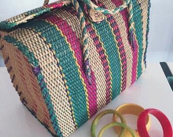 Vintage Straw Tote - Purse -- Great Colors -- Rockabilly -- Retro