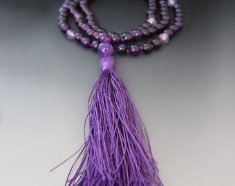 Amethyst Prayer Beads / Tibetan Buddhist Prayer Beads Mala / 108 Prayer Beads / Purple Gemstone / Long Amethyst  Necklace / Yoga Jewelry