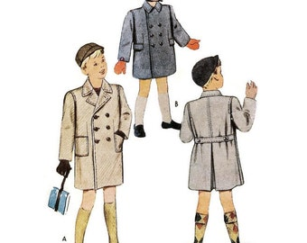 1940s Coat Pattern for Little Boys McCall 7009 Size 2