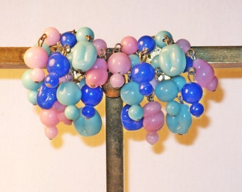 Vintage Pink and Blue Glass Cha Cha Dangling Earrings (E-1-6)
