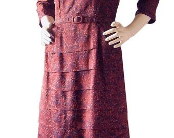 Vintage 50s Shawl Collar Tiered Skirt Wiggle Dress 36 bust 28 waist M 1950s Rockabilly