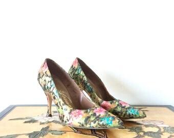 Vintage 1950s Heels Floral Print Metallic Sparkle Pointed Toe Stilettos Size 6