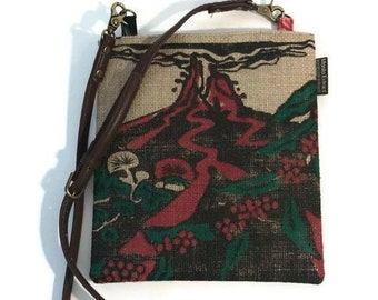 Kilauea Volcano. Burlap Crossbody Bag and Mini- Messenger Purse. Repurposed UCC Hawaii Coffee Bag. Handmade in Hawaii.
