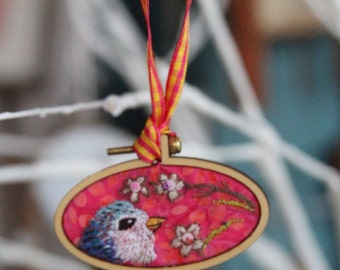 2 in 1 Springtime Hand Embroidered Ornament (and brooch!)