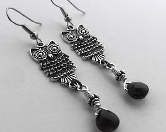 Silver Owl Earrings, Smoky Quartz and Owls Dangle Earrings