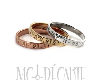 3 rings set, 3 tones of 10k gold: 1 yellow gold, 1 rose gold and 1 white gold, stacking rings with coordinates, 3 gold color ring set