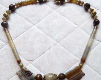 Agate Necklace, Ancient Banded Agate Necklace , Antique  Suleiman Suleimany Agate Beads Necklace - OOAK Unique