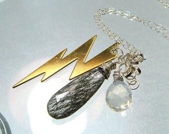 Lightning Bolt Necklace, Black Tourmaline Needles Rock Quartz, Briolette Charm Silver Necklace, Mixed Metal Jewelry Thunderstorm Lightening