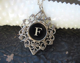Typewriter Key - Initial F - Typewriter key Jewelry - Typewriter Necklace