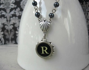 Initial Necklace - Typewriter Key Necklace - Beaded Beauty - Letter R