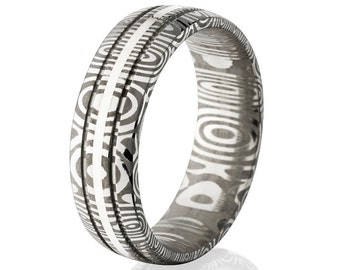 Damascus Steel and Sterling Silver 7mm Ring- DS-7HR2SG11CG-SS