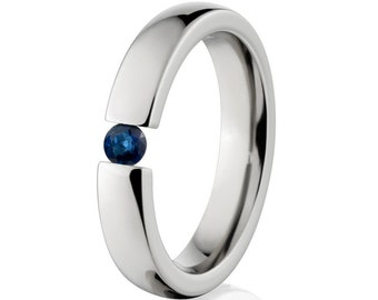 Sapphire- Tension Set Ring-Uniquely You-   4HR-P-Tension