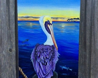 Pelican (painting, dock, bay, evening, gulf coast, louisiana, crescent city, new orleans, mullet, crab, sunset, seascape)