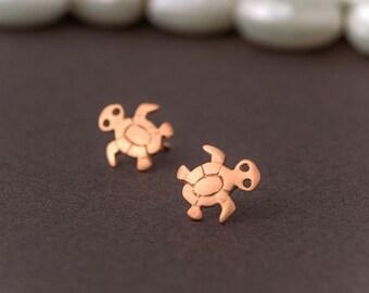 Sea Turtle Stud Earrings sterling silver Girl Woman Teen gift mom gift Rose Gold Birthday gift kids Turtle earrings