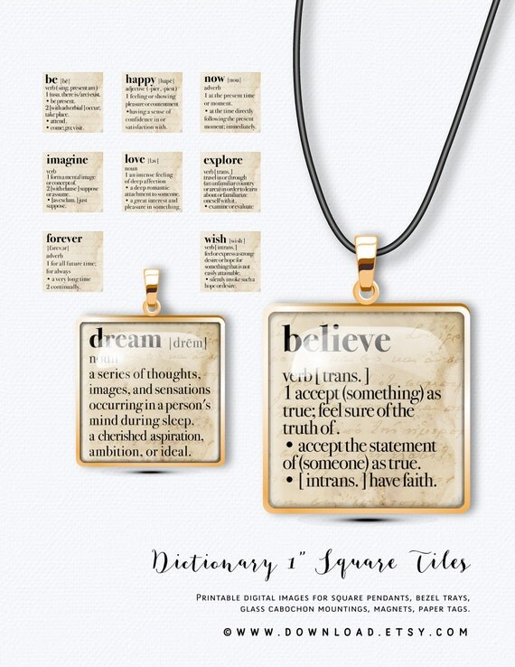 Dictionary 1 inch Square Tiles, Digital Collage Sheet, Download and Print Jpeg Images