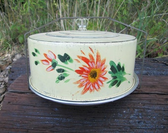 Carlton Aluminum 1940's Butter Yellow Hand Painted Flower Metal Cake Carrier Patent No. 273 738