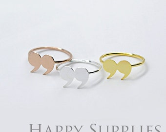 2Pcs Nickel Free - High Quality Rose Gold/Silver/Golden Brass Quote Mark Ring (RB019)