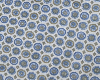 Vintage Fabric~ Brushed Cotton~ Blue and Green Medallions~ Menswear Pattern~By The Yard