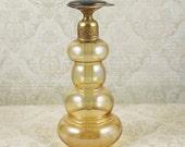 Vintage Art Deco Golden Bubble Glass Perfume Bottle with Black Glass Brass Top