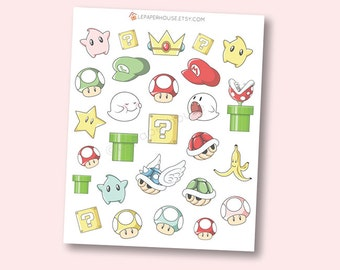 Super Mario Stickers, matte or glossy planner stickers, life planner stickers, erin condren filofax, mambi happy planner