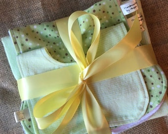 Burp Cloths, Bibs, and Blanket Soft and Cuddly Gift Set for Baby