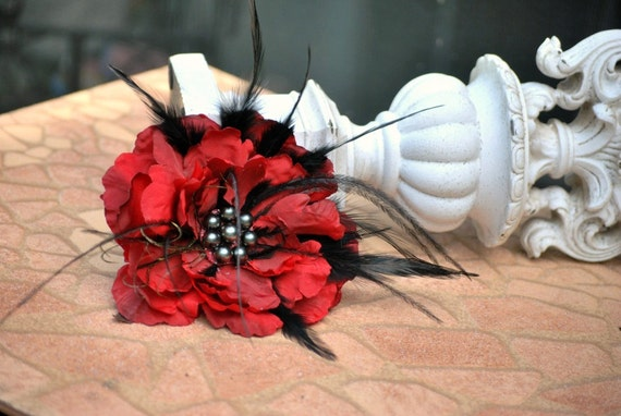 Pin / Hair Clip / Comb Red & Black Feathered Flower Fascinator. Bride Bridal Bridesmaid Statement, Pearl Bead Feather Glitter, OTHER colors