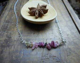 The Honey'd Spice Tourmaline Necklace. Pink Yellow &  Black Tourmaline Wired Dainty Everyday Necklace.