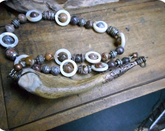 The Blood Moon Necklace. Genuine Antler, Victorian Cap , Jasper & Mother of Pearl Gemstone OOAK Handmade Tribal Necklace