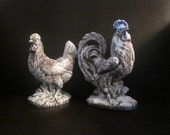 CHICKEN and ROOSTER FIGURINES Farmhouse Rustic Upcycled