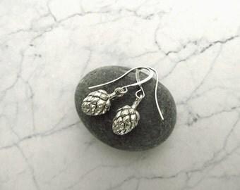 Little Hops Earrings - Beer-Themed Earrings in Antique Silver