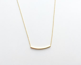 Long Gold Tube Necklace